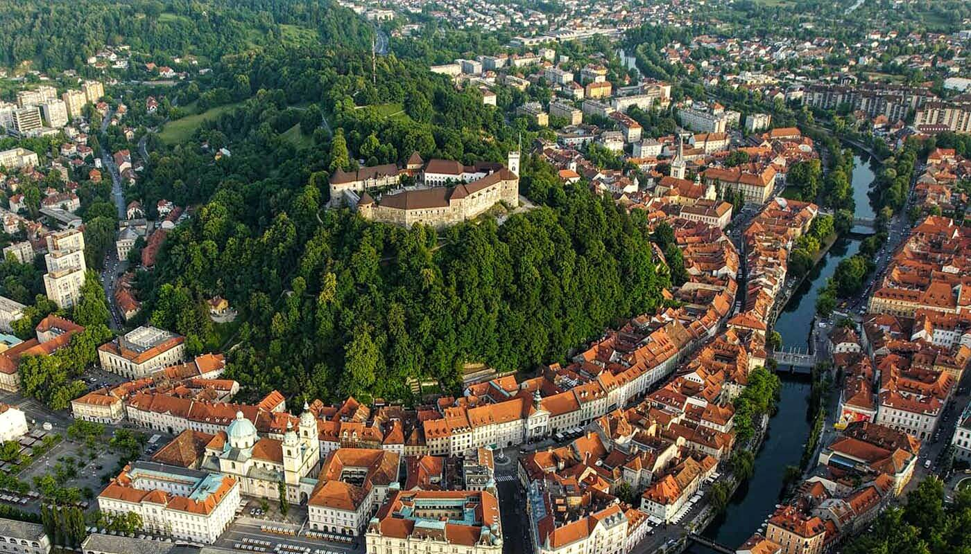 Slovenia - Ljubljana, image of old town with castle, from air